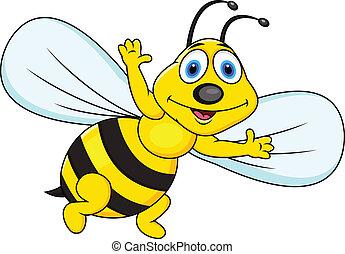 dessin animé, rigolote, abeille