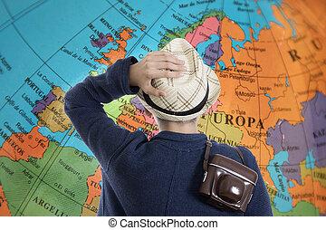 destinations, enfant, aventure, appareil photo, voyage, carte