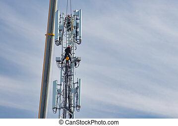 deux, télécommunications, montage, 5g, tour, hollandais, techniciens, nouveau, réseau