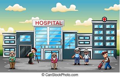 devant, hôpital, groupe, gens âgés