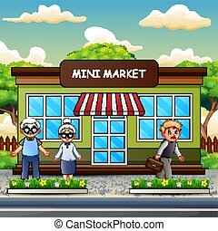 devant, mini, dessin animé, marché, gens