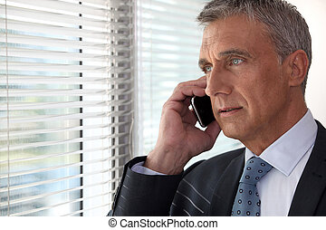 devant, téléphone, fenêtre, cadre