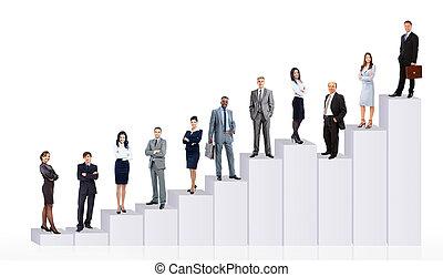 diagram., professionnels, sur, isolé, fond, équipe, blanc