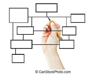 diagramme, main, dessin, business, vide