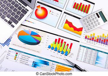 diagrammes, table., graphiques, business