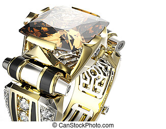 diamond., fond, cognac, anneau, bijouterie