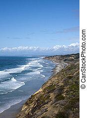 diego, san, océan pacifique, littoral, vagues