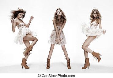 différent, mode, image, triple, modèle, poses