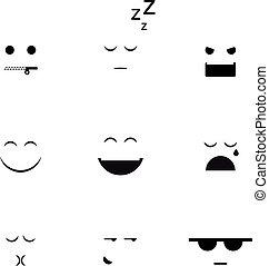 différent, vecteur, collection, clipart, emoji