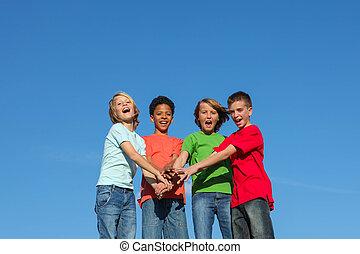 divers, gosses, groupe, adolescents, ou