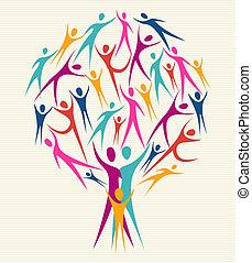 diversité, couleurs, ensemble, arbre, humain