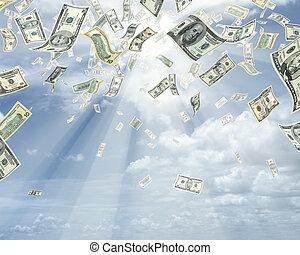 dollars, pluie