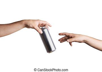 donner, main, personne, boîte de bière, autre, mâle
