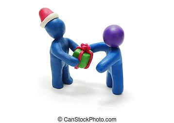 donner, personne, santa, cadeau, 3d