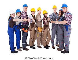 donner, pouces haut, groupe, ouvriers, divers