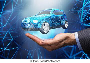 donner, voiture, personne affaires, robot, clã©