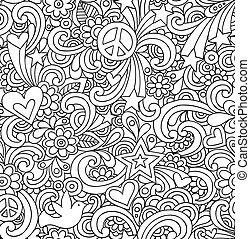 doodles, cahier, seamless, modèle