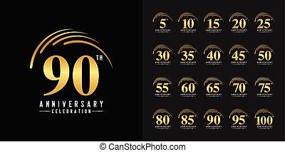 doré, ensemble, card., affiche, prospectus, logotype., compagnie, magazine, anniversaire, livret, emblem., profil, conception, toile, invitation, brochure, célébration, ou, salutation