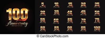 doré, ensemble, emblème, card., affiche, prospectus, logotype., compagnie, magazine, anniversaire, toile, salutation, profil, conception, livret, invitation, célébration, ou, brochure