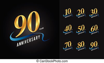 doré, ensemble, emblème, card., affiche, prospectus, logotype., magazine, anniversaire, livret, salutation, conception, toile, invitation, brochure, ou, célébration