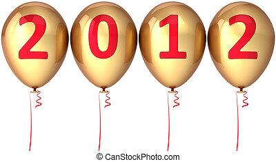 doré, fête, année, nouveau, ballons, 2012