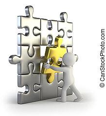 doré, insertion, puzzle, gens, -, petit, 3d