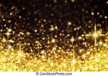 doré, noël, fond, étoiles, lumières