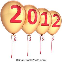 doré, nouvel an, fête, ballons, 2012