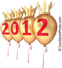 doré, royal, année, nouveau, ballons, 2012