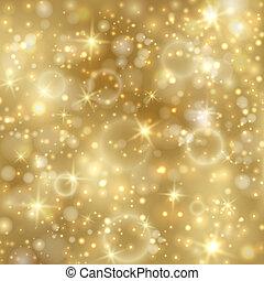doré, twinkly, étoiles, fond, lumières