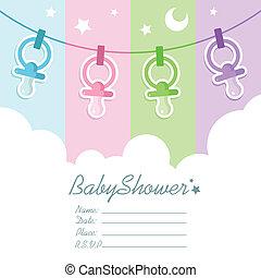 douche bébé, cartes, invitation