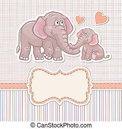 douche bébé, elephan, invitation