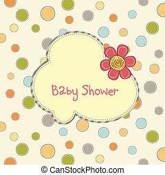 douche bébé, fleur, carte