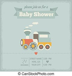 douche, bébé, style, retro, invitation