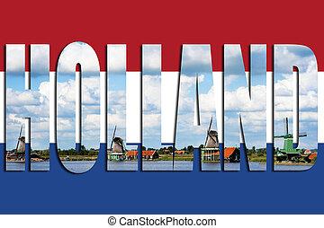 drapeau, éoliennes, hollande