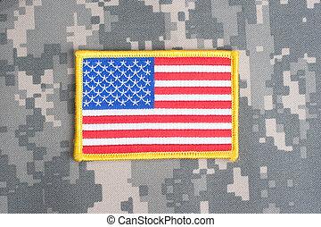 drapeau, nous, camouflage, uniforme