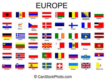 drapeaux, européen, liste, pays, tout