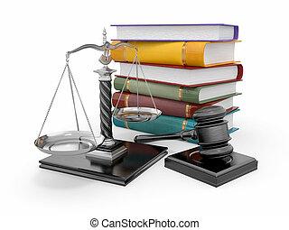 droit & loi, justice, concept., échelle, marteau