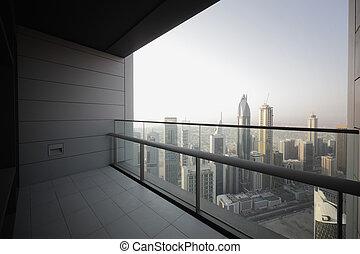 dubai, gratte-ciel, balcon