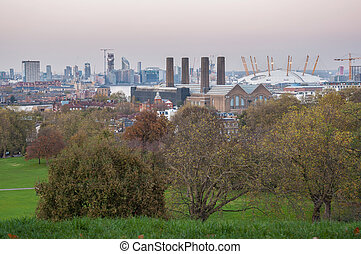 dusk., greenwich, horizon, londres, hill., vue