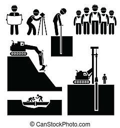 earthwork, ouvrier construction, icônes