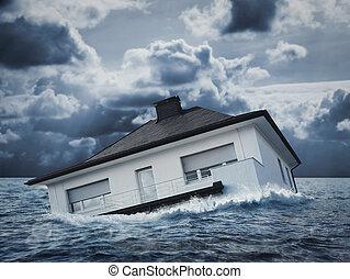 eau, blanc, inondation, maison