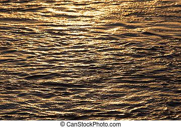 eau, coucher soleil, fond, surface