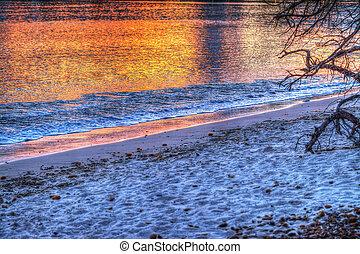 eau, coucher soleil, reflet
