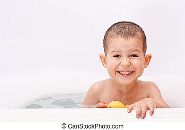 eau, garçon, jouer