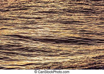 eau, mer ouverte, sunset., surface