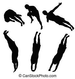 eau, noir, sauter, silhouette, gens