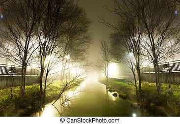 eau, nuit, canal