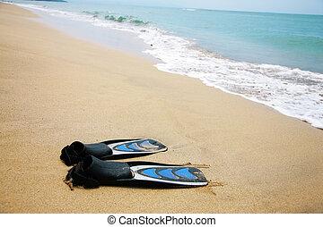eau, paire, sable, swimfins, océan