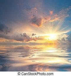 eau, sur, coucher soleil, reflet, mer